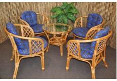 Ratanová sedací souprava Bahama 4+1 medová, polstr modrý