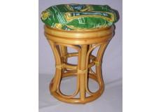 Ratanová taburetka úzká medová polstr zelený