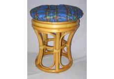 Ratanová taburetka úzká medová polstr modrý