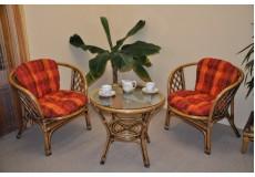 Ratanová sedací souprava Bahama 2+1 brown wash polstr oranžová kostka