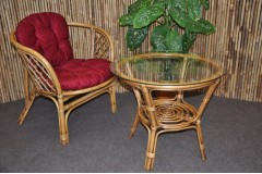 Ratanová sedací souprava Bahama 1+1 brown wash polstr vínový