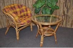 Ratanová sedací souprava Bahama 1+1 brown wash polstr okrový MAXI