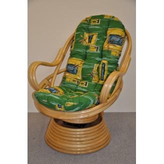Ratanové houpací křeslo Swivel medové zelený polstr