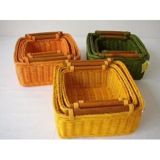 Ratanový košík barevný set 3 varianta zelená