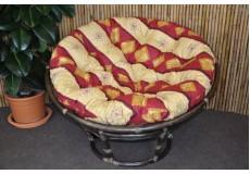 Ratanový papasan 110 cm hnědý polstr vínový motiv