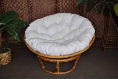 Ratanový papasan brown wash 110 cm polstr bílý