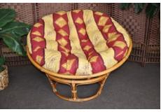 Ratanový papasan brown wash 110 cm polstr vínový motiv