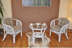 Ratanová sedací souprava Bahama bílá 2+1, polstry levandule