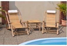 Souprava dvou bambusových lehátek + stolek - doprava ZDARMA