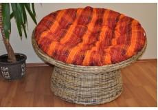 Ratanový papasan wicker mix polstr oranžová kostka - doprava ZDARMA