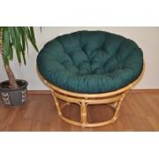 Ratanový papasan 110 cm medový polstr zelený dralon