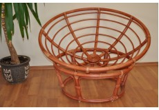 Ratanový papasan 110 cm koňak - konstrukce bez polstru