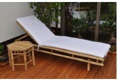 Bambusové lehátko Polo s polstrem a odkládacím stolkem - doprava ZDARMA