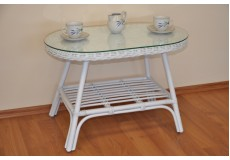 Ratanový stolek Fabion oválný bílý