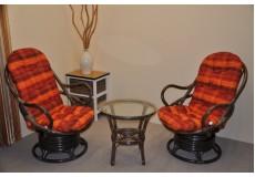 Ratanová souprava Swivel + stolek hnědá polstry oranžová kostka - doprava ZDARMA