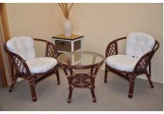 Ratanová sedací souprava Bahama mahagon 2+1, polstry bílé