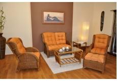 Ratanová sedací souprava Borneo brown wash velká polstry oranžové - doprava ZDARMA