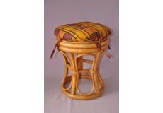 Ratanová taburetka úzká medová polstr okrový
