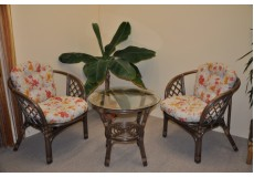 Ratanová sedací souprava Bahama hnědá 2+1, polstr motiv květiny