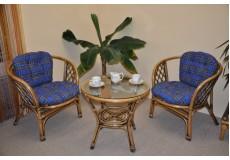 Ratanová sedací souprava Bahama 2+1 brown wash polstr modrý
