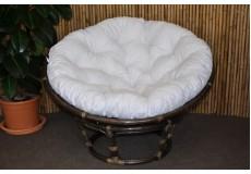 Ratanový papasan 110 cm hnědý bílý polstr