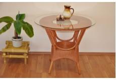 Ratanový stůl jídelní Wanuta cognac - doprava ZDARMA