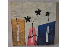 Obraz vázy a květy  60x60 cm