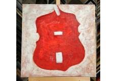 Obraz červené housle 60x60 cm