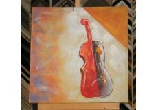 Obraz dvoubarevné housle II  60x60 cm