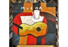 Obraz v kavárně s kytarou 60x60 cm