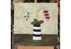 Obraz červená kvítka ve váze II 60x60 cm
