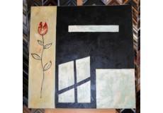 Obraz červený květ a okno 75x75 cm