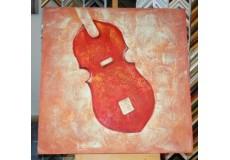 Obraz červené housle 90x90 cm