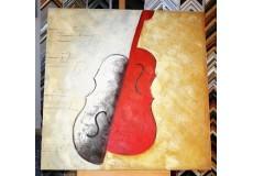 Obraz dvoubarevné housle 90x90 cm
