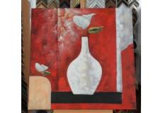 Obraz kala v bílé váze 90x90 cm