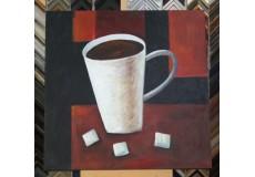 Obraz káva a cukr 90x90 cm