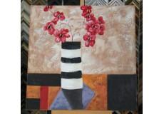 Obraz kytice červených květů II 90x90 cm